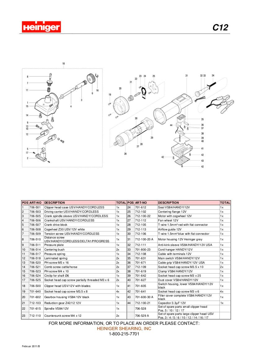 heinigerc12batteryclipperpartsdiagram