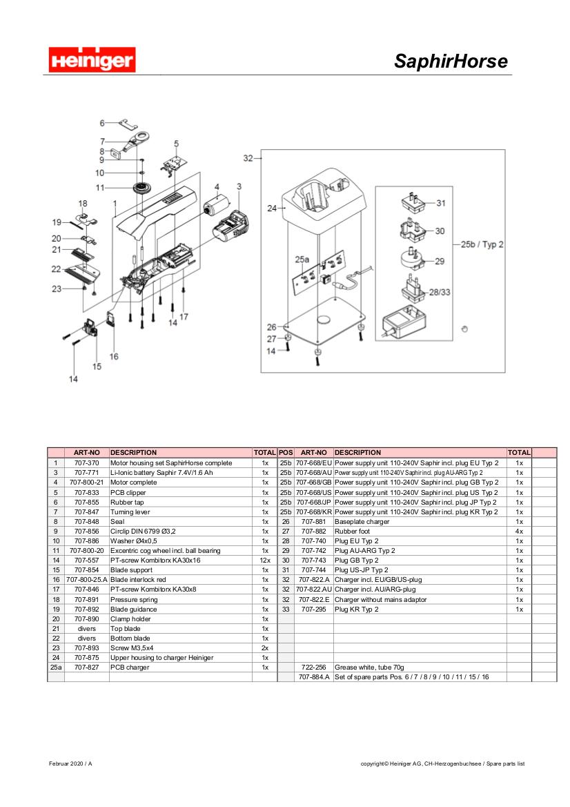 saphir horse parts diagram
